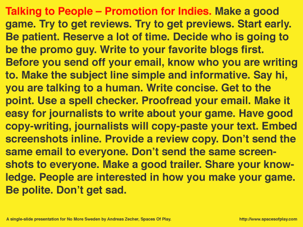 Talking to People – Promotion for Indies