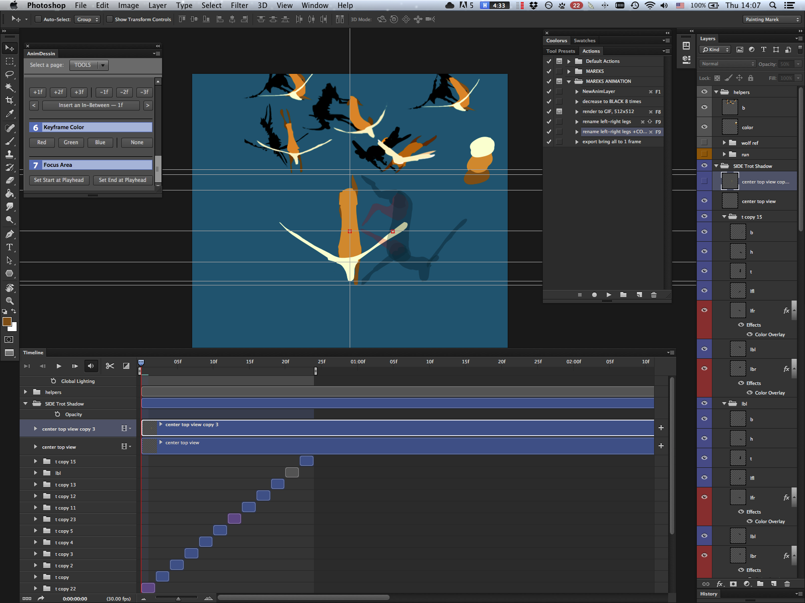 Screenshot of animating a deer in Photoshop